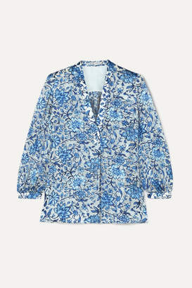Alice + Olivia Alice Olivia - Sheila Flocked Floral-print Chiffon Blouse - Blue