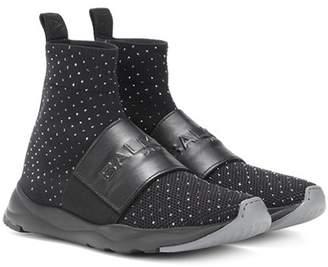 Balmain Embellished mesh sock sneakers