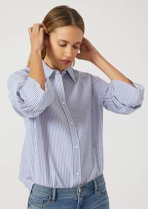 Emporio Armani Striped Cotton Canvas Shirt