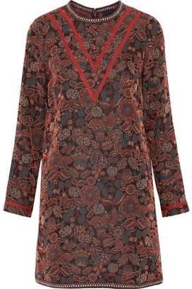 Anna Sui Cotton-Blend Floral-Jacquard Mini Dress