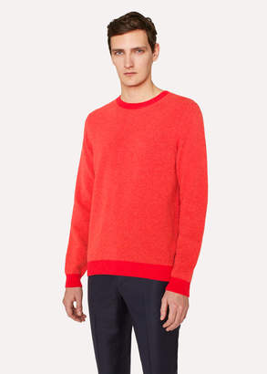Paul Smith Men's Coral Lambswool Sweater With Contrast Trims
