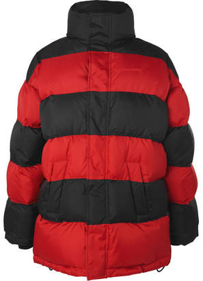 Balenciaga Oversized Striped Quilted Shell Down Jacket - Red