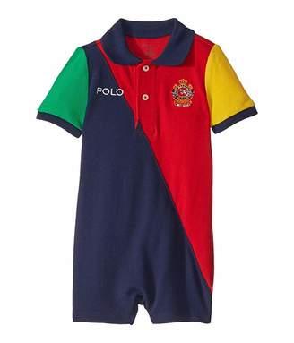Ralph Lauren Baby Color Blocked Polo Shortall (Infant)
