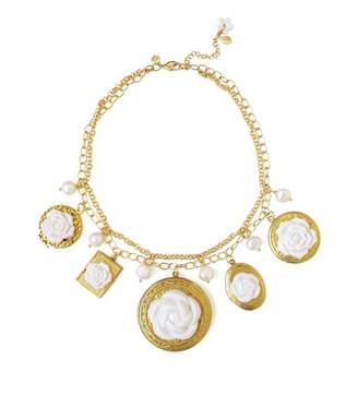 POPORCELAIN - Porcelain Floral Lockets Statement Necklace