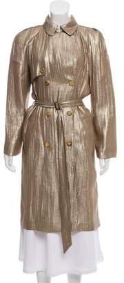 Lanvin Metallic Silk Trench Coat