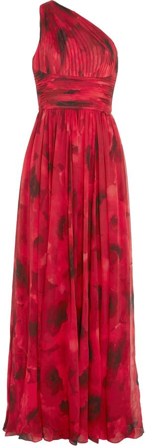 MICHAEL Michael KorsMichael Kors Collection Poppy one-shoulder plissé floral-print silk-chiffon gown