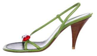 Chanel CC Leather Slingback Sandals