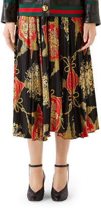 Gucci Intrigue Floral Tassel Print Pleated Silk Midi Skirt