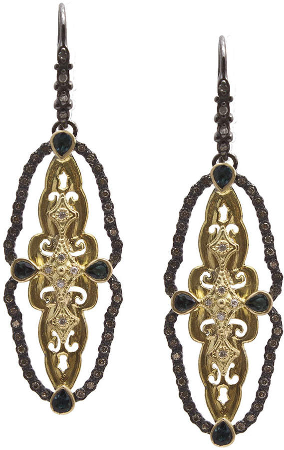 ArmentaArmenta Old World Scalloped Tourmaline & Diamond Drop Earrings