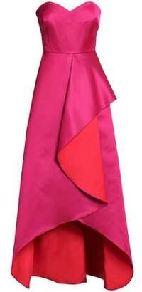Badgley Mischka Draped Two-Tone Duchesse Satin Gown
