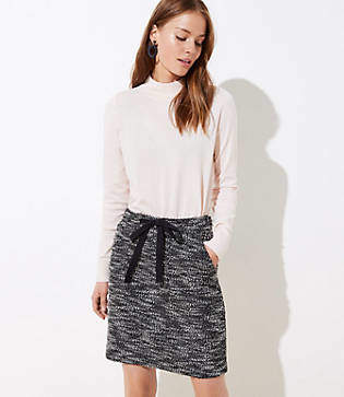 LOFT Boucle Pocket Drawstring Skirt
