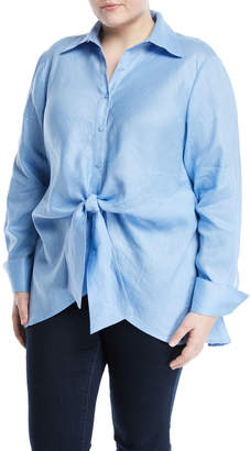 Neiman Marcus Plus Tie-Front Button-Front Linen Blouse, Plus Size