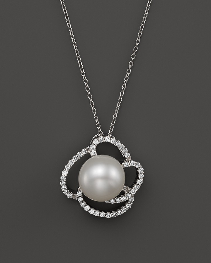 Bloomingdale's Cultured Freshwater Pearl Pendant Necklace with Diamonds in 14K White Gold, 18""