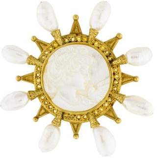 Doris Panos 18K Carved Mother of Pearl, Pearl & Yellow Sapphire Brooch