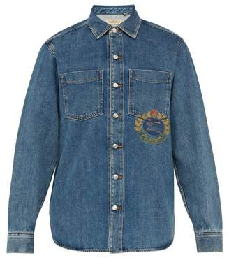 Burberry Crest Print Denim Shirt - Mens - Blue
