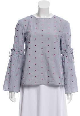 Tanya Taylor Embroidered Bell-Sleeve Blouse