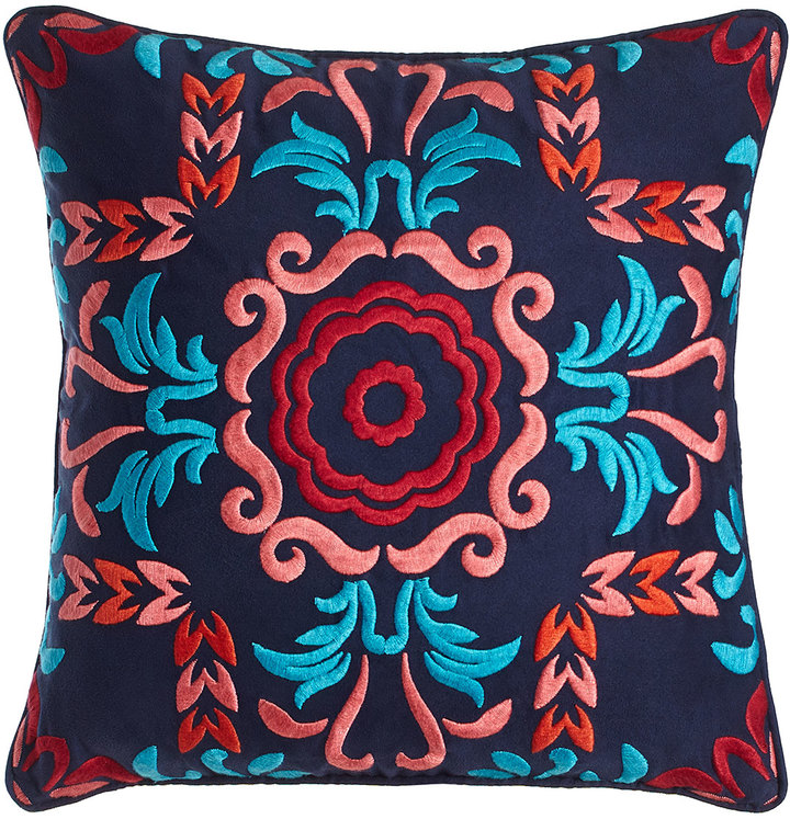 "Blissliving Home Blissliving HOME Embroidered Viva Mexico Pillow, 18""Sq."