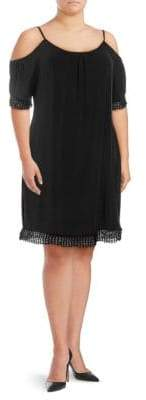 ABS by Allen Schwartz Lace-Trimmed Cold-Shoulder Dress