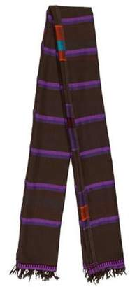 Lemlem Multicolor Striped Fringe Scarf Purple Multicolor Striped Fringe Scarf