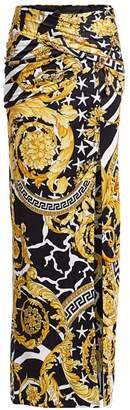 Versace Savage Baroque Safety Pin Jersey Maxi Skirt