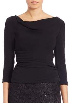 Theia Three-Quarter Sleeve Side-Ruched Top