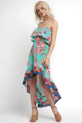 Tolani Strapless Floral Printed Tiered Maxi Dress