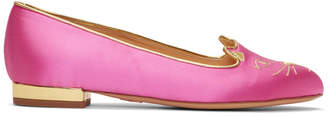 Charlotte Olympia SSENSE Exclusive Pink Satin Kitty Flats