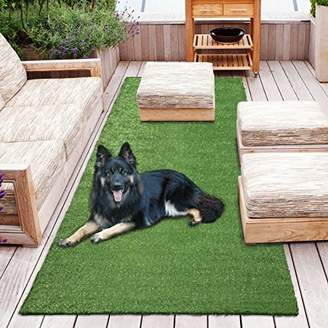 "Sweethome Meadowland Collection Indoor and Outdoor Green Artificial Grass Turf Runner Rug 2'7"" X 8'0"" Green Artificial Grass/Pet mat with Rubber Backed"
