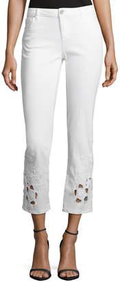 Elie Tahari Azella Embroidered Skinny Jeans