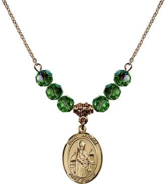 Walter Bonyak Jewelry Saint Necklace Collection 18-Inch Hamilton Gold Plated Necklace with 6mm Green August Birth Month Stone Beads and Saint of Pontoise Charm