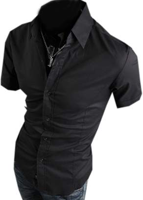 Partiss Mens Short Sleeve Dress Shirts