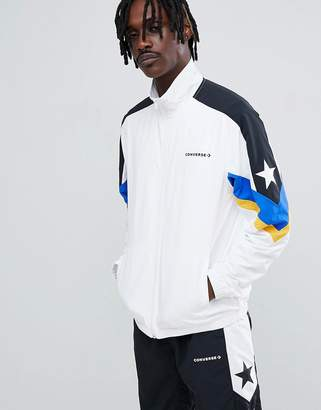 Converse Color Block Track Jacket In White 10006473-A01
