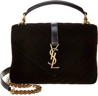 Saint Laurent Medium College Velvet & Leather Shoulder Bag