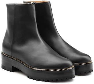 Sergio Rossi Embellished Leather Platform Ankle Boots