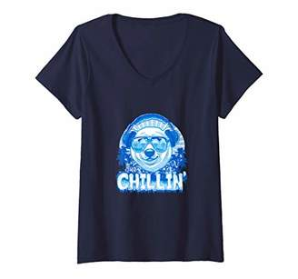 Womens Jus Chillin Polar Bear V-Neck T-Shirt