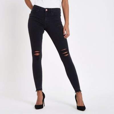 River IslandRiver Island Womens Black Molly ripped super skinny jeans