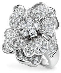 Leo Pizzo Iconic Flower 18k White Gold Diamond Ring, Size 6.5