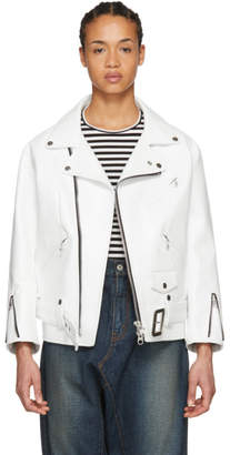 Junya Watanabe White Leather Motorcycle Jacket