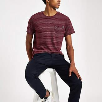 River Island Jack and Jones burgundy stripe T-shirt