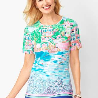 Talbots Cotton Crewneck Tee - Destination Print