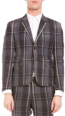 Thom Browne Distressed Plaid Two-Button Wool Jacket, Medium Gray $3,220 thestylecure.com