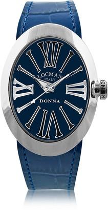 Locman Change Blue Stainless Steel Oval Case Women's Watch w/3 Leather Straps