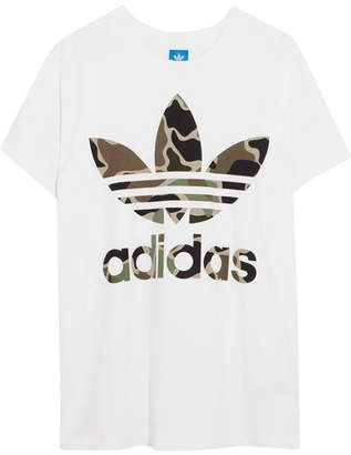 adidas Big Trefoil Oversized Printed Cotton-jersey T-shirt - White