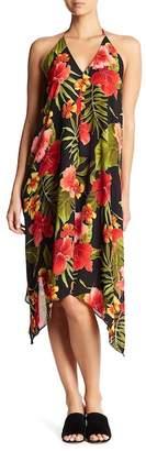 AAKAA Halter Tropical Print Dress