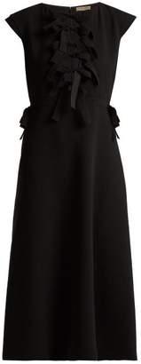 Bottega Veneta - Tiered Ties Crepe Midi Dress - Womens - Black
