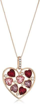 Swarovski Rose Gold Plated Crystal Multicolor Heart Pendant Necklace