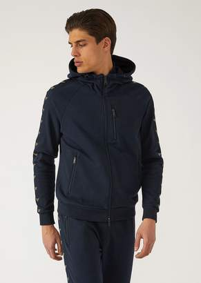 Emporio Armani Cotton Zip-Up Sweatshirt With Logo Stripes And Hood