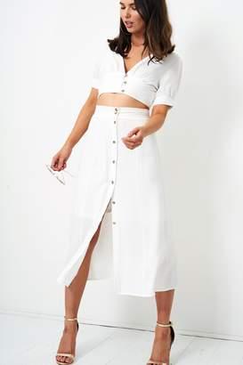 Frontrow White Midi Skirt