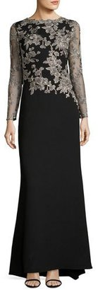 Tadashi Shoji Long-Sleeve Lace-Embellished Combo Gown $495 thestylecure.com