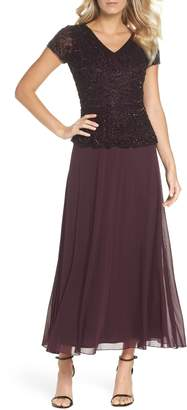 Pisarro Nights Beaded V-Neck Mock Two-Piece Gown